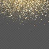 Guld blänker bakgrund Stjärnadamm gristrar genomskinlig bakgrund stock illustrationer