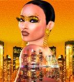 Guld blänker bild för popkonst av en framsida för kvinna` s Denna är en digital konstbild av ett slut upp framsida för kvinna` s  royaltyfri fotografi