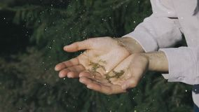 Guld blänker blåsas bort i händerna av en ung flicka lager videofilmer