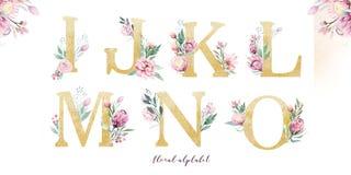 Guld blänker bokstavsalfabet Isolerade guld- alfabetiska stilsorter och nummer på vit bakgrund Blom- gifta sig stilsortstext stock illustrationer