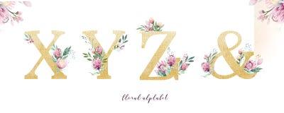 Guld blänker bokstavsalfabet Isolerade guld- alfabetiska stilsorter och nummer på vit bakgrund Blom- gifta sig stilsortstext royaltyfri foto