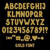 Guld blänker engelskt alfabet, skiljetecken och nummer Royaltyfria Bilder