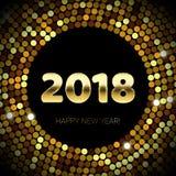 Guld blänker 2018 för textsvart för lyckligt nytt år bakgrund för konfettier för modell för brusande Arkivbild