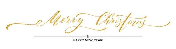 Guld blänker glad jul som märker design Hälsningkort med guld- blänka garnering också vektor för coreldrawillustration stock illustrationer
