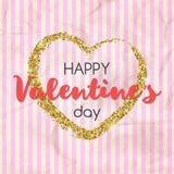 Guld blänker hjärta med lycklig text för dagen för valentin` s Design Arkivfoto