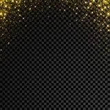 Guld blänker konfettier på genomskinlig bakgrund Regn för vektorstjärnagnistrandet med glödande sken plaskar royaltyfri illustrationer