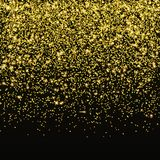 Guld blänker konfettivektorn Fallande guld- stjärnadamm som isoleras på svart bakgrund Julsken vektor illustrationer