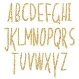 Guld blänker mousserande alfabet Dekorativa guld- lyxbokstäver Skinande glamabstrakt begreppabc Goden blänker bra till salu för t Royaltyfri Fotografi