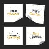 Guld blänker pappers- designklistermärkear för bokstäver lyckligt nytt år glad jul vektor illustrationer