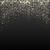 Guld blänker partikelbakgrundseffekt för lyxigt hälsningkort Mousserande textur Stjärnadamm gristrar vektorn stock illustrationer