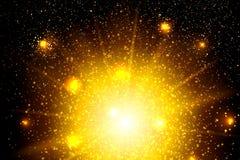 Guld blänker partikelbakgrundseffekt Mousserande textur Stjärnadamm gristrar i explosion på svart bakgrund Arkivbilder