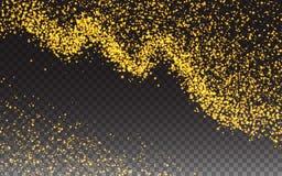 Guld blänker partikeleffekt för lyxiga hälsa Rich Card Mousserande textur Gnistor för stjärnadamm i explosion på vektor Fotografering för Bildbyråer