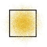 Guld blänker sprej med ramen Guld- mousserar vektorn som isoleras på bakgrund Textur för stjärnadamm, lig royaltyfri illustrationer