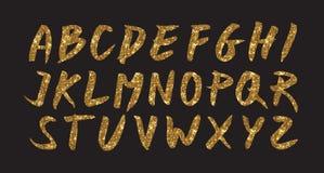 Guld blänker stilsortsborsten på svart bakgrund, den guld- vektorcmykillustrationen, glansig printingmall vektor illustrationer