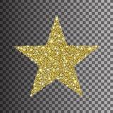 Guld blänker stjärnan på genomskinlig bakgrund royaltyfri illustrationer