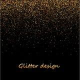 Guld blänker textur på en svart bakgrund Guld- explosion av konfettier Guld- kornig abstrakt textur på en svart royaltyfri illustrationer