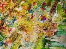 Guld- blå gräsplan som mousserar vaxartad målarfärg, kontrast formar bakgrund i pastellfärgade toner arkivbild