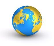 guld- blå planet för jord 3D Arkivbild
