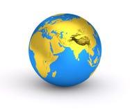 guld- blå planet för jord 3D Fotografering för Bildbyråer