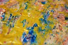 Guld- blå unik bakgrund, vaxartad abstrakt bakgrund, livlig bakgrund för vattenfärg, textur Royaltyfri Bild