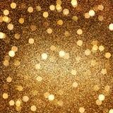 Guld- blanka lampor abstrakt bakgrundsferier Arkivfoton