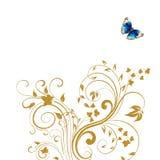 Guld- blom- fjärilsbakgrund Royaltyfri Foto