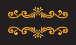 Guld- blom- gräns för elegant lyxig tappning Arkivbilder