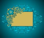 guld- blom- ram Arkivfoto