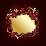 guld- blom- ram stock illustrationer