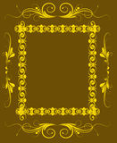 Guld- blom- ram Arkivbild