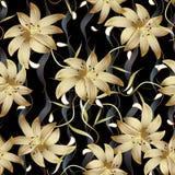 guld- blom- sömlös modell 3d Abstrakta blom- svarta vektorlodisar Royaltyfri Bild