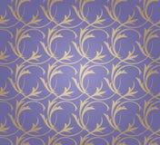 Guld- blom- sömlös prydnad på lila bakgrund stock illustrationer