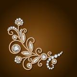 Guld- blomma för diamantsmycken, blom- garnering royaltyfri illustrationer