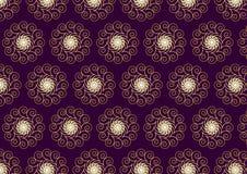 Guld- blomma- och virvelmodell på mörk purpurfärgad bakgrund Royaltyfri Bild