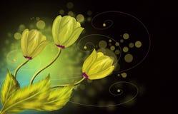 Guld- blommahälsningkort Fotografering för Bildbyråer
