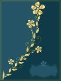 Guld- blommainbjudan Royaltyfri Foto