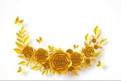 Guld- blommapappersstil, färgrik ros, blom- pappers- hantverk, fjärilspappersfluga, tolkning 3d, med urklippbanan royaltyfri illustrationer