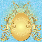 Guld--blått easter tappning inramar Royaltyfria Bilder