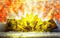 Guld- bok med magiska ljus Royaltyfri Foto