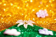 Guld- bokeh, abstrakt bakgrund Royaltyfria Foton