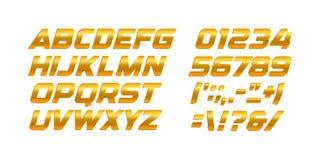 Guld- bokstäver och nummeruppsättning Guld- alfabet för latin för lutningstilvektor Kursiv djärv typografidesign vektor illustrationer
