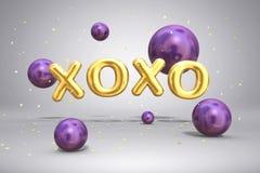 Guld- bokstäver XOXO för skinande metall och ljust purpurfärgade violetta ballongsfärer för flyga på festlig bakgrund med konfett stock illustrationer