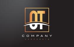 Guld- bokstav Logo Design för OT-nolla T med guldfyrkanten och Swoosh Arkivfoton