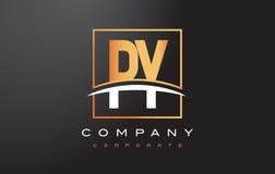 Guld- bokstav Logo Design för PY P Y med guldfyrkanten och Swoosh Arkivfoto