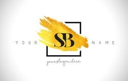 Guld- bokstav Logo Design för SB med den idérika guld- borsteslaglängden Arkivbild