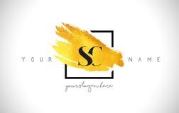 Guld- bokstav Logo Design för SC med den idérika guld- borsteslaglängden Arkivfoto