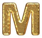 guld- bokstav M för stilsort Arkivfoton