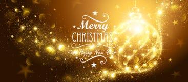 Guld- boll för jul stock illustrationer