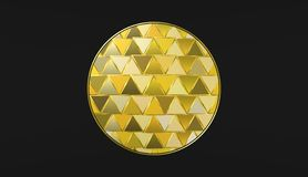 Guld- boll på svart bakgrund, härliga tapeter, illustration Royaltyfri Foto