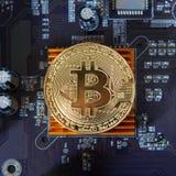 Guld- bräde för processor Bitcoin för elektronisk dator Royaltyfria Foton